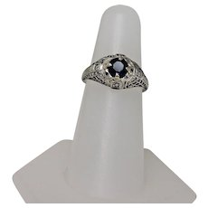 Vintage Sapphire and Diamond Ring, 18Kt WG
