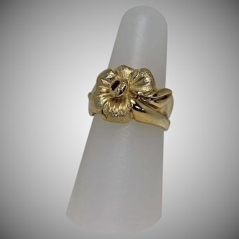 Designer Pansy and Ruby Ring, 18Kt YG