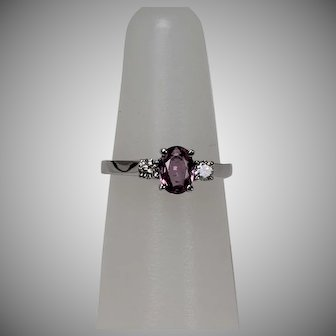 Pink Sapphire and Diamond WG Ring, 14 Kt
