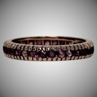 Gorgeous Vintage Ruby Eternity Band, 14 kt Rose Gold