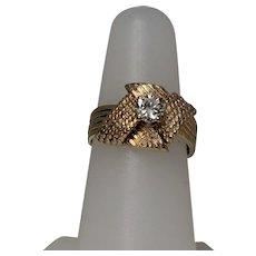 Vintage Retro Diamond Ring, Approx 1/2 ct Center. 14 Kt YG