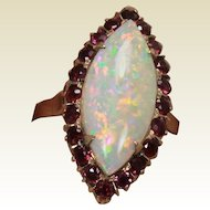 Victorian Ruby and Opal Ring, 14 Kt YG