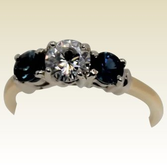 Gorgeous Diamond and Blue Spinel 3 Stone Ring, Two Toned, 14Kt