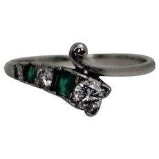 Platinum Diamond and Emerald Retro Ring