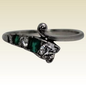 Platinum Diamond and Emerald Retro Ring