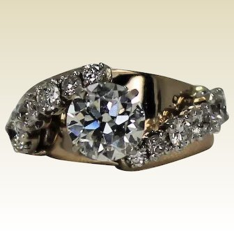 3.2 ctw Diamond Ring, GIA Cert 1.99 ct Main Diamond, 14Kt YG