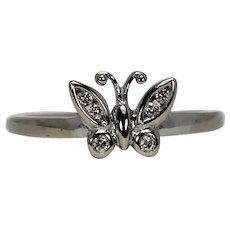 Diamond Butterfly Ring, 10K WG
