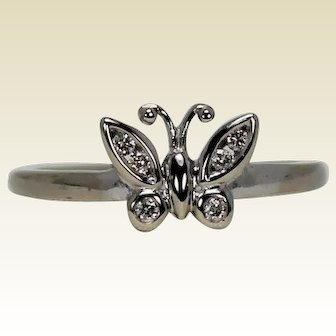 Diamond Butterfly Ring, 10K WG