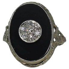 Gorgeous Black Onyx and Diamond Vintage Ring 14 Kt WG