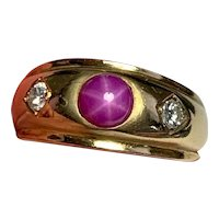 Vintage 18k yellow gold Gypsy Ring Old European Diamond and Star Ruby Ring