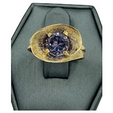 Vintage Retro 10k Yellow Gold Tourmaline Ring 1.30cts