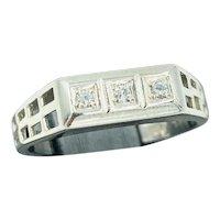Vintage 14k White Gold .05ct diamond Ring open work