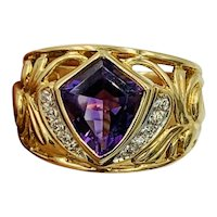 Designer signed 14k Yellow gold Diamond and Shield Amethyst wide band ring
