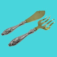 Art Nouveau 833 Silver Serving Set Knife and Fork Sweden Swedish
