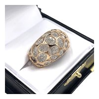 18K Rose Gold Cut-Out Dome 2.00ctw VS F Round Cut Diamond Cocktail Ring
