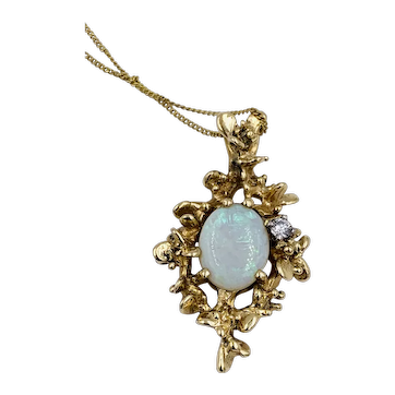 Vintage All-Natural 1.40ct Australian Opal Pendant Freeform 14K Gold w/ Diamond