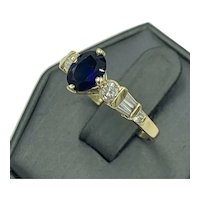 Estate14KY gold Diamond and Sapphire cocktail ring engagement