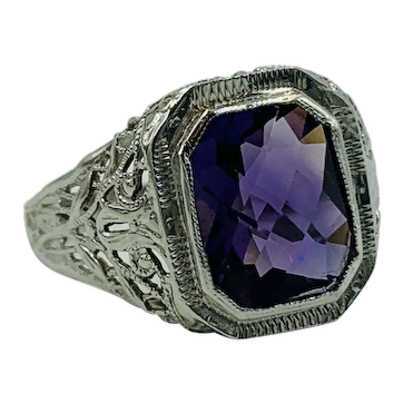 Art Deco 14K white Gold Checkerboard Amethyst filigree Ring