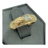 Vintage 14k Yellow Gold .36ct diamond Solitaire Ring hand etched wide band
