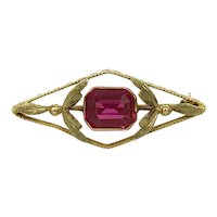 Vintage Green Gold 10k Yellow Gold Synthetic Pink Sapphire Leaf Brooch