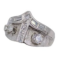 Estate Art Deco 14k White gold baguette Diamond wide band ring .77cts
