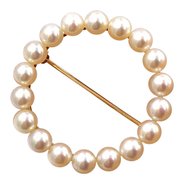 RARE Tiffany & Co. Vintage Mid-Century Saltwater Pearl 14k Gold Pin Brooch