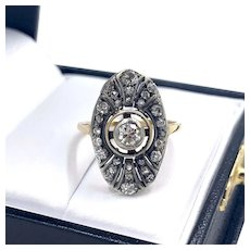 Antique 14K Edwardian Silver Topped Old Cut Diamond Shield Ring