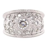 18k White gold 2.60ctw Diamond cigar band ring hand etched