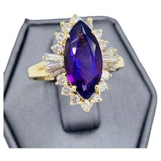 Estate 14k Yellow gold Diamond and Marquise cut Amethyst Cocktail ring