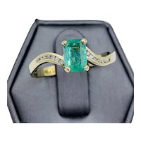 Vintage 14k Yellow gold 1.00ct Colombian Emerald Diamond ring size 11
