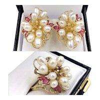 Vintage 14K Gold Demi-Parure Freshwater Rice Pearl Ruby Diamond Earring Ring Set