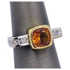 Estate 1.90ct Sapphire and Diamond Platinum designer ring with 18k bezel