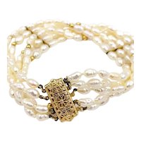Vintage Multi-Strand Genuine Pearl Bracelet 14K yellow gold clasp and spacers