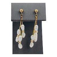 Vintage 14k Yellow Gold dangle Pearl Earring Stud Post