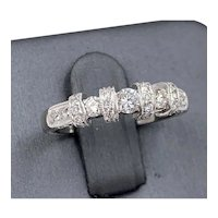 18K White Gold .57cts Diamond wedding band Ring hand etched