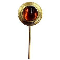 Vintage 14K Yellow Gold Citrine Cabochon Lapel Pin stick hat pin