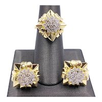 Estate 14k Yellow gold 1.71ct Diamond earring and ring Set