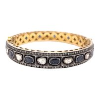 14K Gold and Sterling Silver Georgian Reproduction Rose Cut Diamond Sapphire Bangle