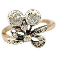 Victorian 18K Rose Gold and Silver Top 1.10ctw Diamond Bow Ring