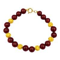 "Vintage 22K Yellow Gold and Carnelian 8mm Bead Bracelet 7"""