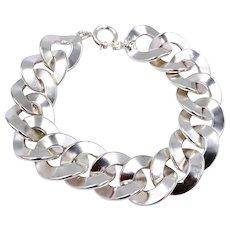 Vintage European designer signed Sterling Silver link men's disc bracelet
