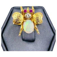 Vintage 22k yellow gold Opal Diamond Fly bug ring Old European Diamond