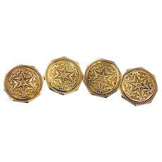 Antique Strobell & Crane 14K Gold etched Cufflinks 1920's