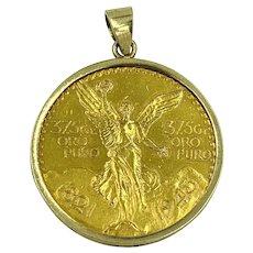 1943 Mexico $50 Pesos Gold Centenario Coin Pendant
