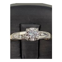 Estate TRUBRITE signed 14 karat yellow gold .15ct VS F-G Diamond ring.