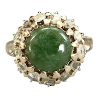 Victorian 12K Nephrite Jade and Rose Cut Diamond Ring