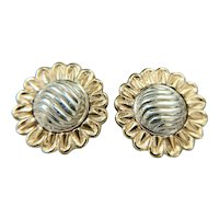 Vintage Designer Nabco 14K Yellow Gold / 925 Sterling Silver Sunflower Earrings
