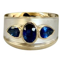 Custom 14K Two-Tone Gold 3.05ctw Blue Ceylon Sapphire Cigar Band Ring