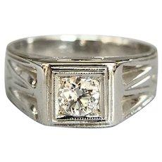 Vintage 18K White Gold .30ct VS Old European Diamond Band Ring