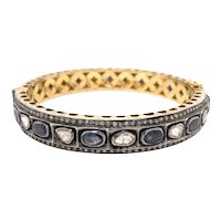 14K Gold and Silver Georgian Reproduction Rose Cut Diamond Sapphire Bangle
